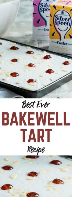 This classic English Bakewell Tart has been transformed into a traybake. It's so easy to make! Bakewell Traybake, Bakewell Pudding, Cherry Bakewell Tart, Tray Bake Recipes, Tart Recipes, Baking Recipes, English Dessert Recipes, English Recipes, British Recipes