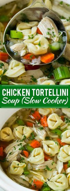 Traditional Chicken Noodle Soup - with Tortellini! Add your ingredients in the slow cooker and come home to a cold-busting dinner, ready to eat.