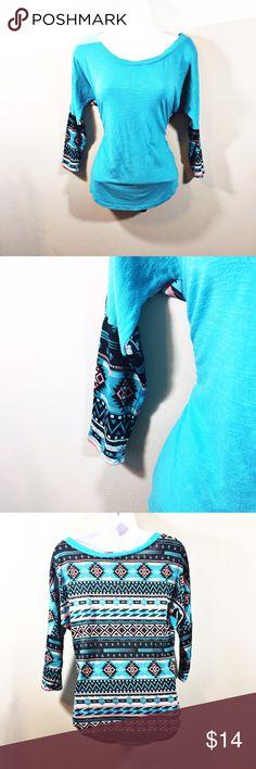 Teal Aztec Hi Lo 3/4 Length Top with Sheer Back Beautiful top! 3/4 length sleeves. Aztec pattern on sleeves and the back is sheer with the full Aztec pattern Self Esteem Tops Blouses