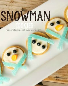 Snowman cookies using golden Oreos.