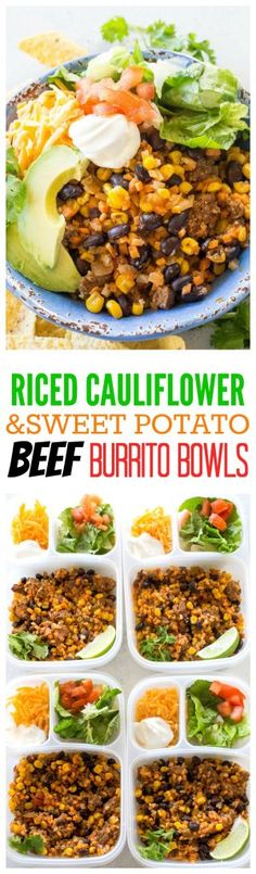 Riced Cauliflower and Sweet Potato Beef Burrito Bowls - a healthy version of your favorite burrito bowl made with Green Giant veggies! #ad the-girl-who-ate-everything.com