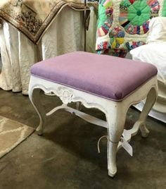 "Purple Covered Painted Stool Dealer #61 22"" Wide x 16"" Deep x 19"" High $58 Lucas Street Antiques Mall 2023 Lucas Dr. Dallas, TX 75219 Like us on Facebook: https://www.facebook.com/"