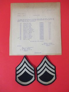 WWII US Pair Of  Staff Sergeant Chevrons With Recommendation Letter