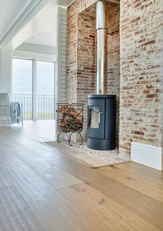 ⠀ Oggie Fsc European Oak Classico Rustic Hand Scraped floor with Woca Denmark UV Oil. Cottage Fireplace, Firewood, Beach House, Home Appliances, House Design, Patio, Flooring, Rustic, Outdoor Decor