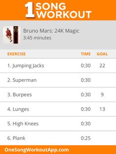 24k Magic by Bruno Mars, one song workout. #fitness #workout