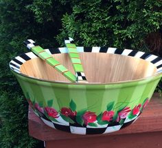 Hand Painted Wooden Salad Bowl with Matching Utensils .  Decorative bowl roses stripes checks
