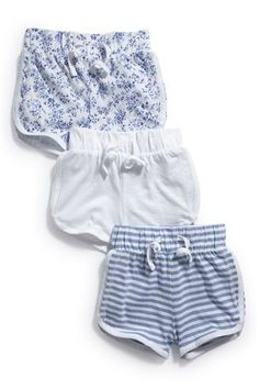 Buy Blue Floral, White And Stripe Sporty Shorts Three Pack (3mths-6yrs) from the Next UK online shop