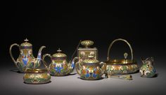 Tea Set  Tea Set, before 1896  firm of Peter Carl Fabergé (Russian, 1846-1920) silver gilt, opaque cloisonne enamel, . The India Early Minshall Collection