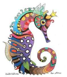 Zentangle & Doodling / Зентангл и Дудлингcolorful seahorse by David Cobb Art And Illustration, Seahorse Art, Seahorses, Colorful Seahorse, Seahorse Drawing, Seahorse Painting, Arte Pop, Fish Art, Scrappy Quilts