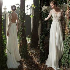 2014 new white/ivory Long sleeve wedding dress custom size 6 8 10 12 14 16 18++ on Etsy, 159,00$