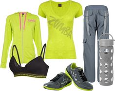 """Neon, Grey, and Black Zumba Outfit"" by marissa-anne-weddle on Polyvore"