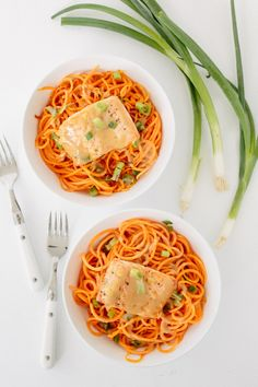 Ginger Roasted Salmon and Sweet Potato Noodles with Miso-Maple ...