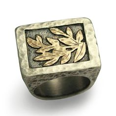 Mens Woodland rectangle band, Unisex Silver and gold leaves ring, Signet Gold and Silver ring, leaf rustic ring Handmade Jewelry Modern band