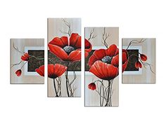 Noah Art-Modern Paintings of Flowers, Red Flowers Pictures Hand Painted with Acrylic Abstract Flower Painting on Canvas, 4 Piece Framed Floral Wall Art for Living Room Bedroom Wall Decor Flower Painting Canvas, Canvas Wall Art, Flower Canvas, Modern Oil Painting, Modern Paintings, Oil Paintings, Floral Wall Art, Living Room Art, Abstract Flowers