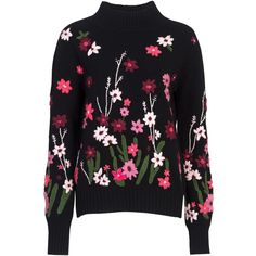 French Connection Floral Garden Embroidered Jumper, Black Multi ($135) ❤ liked on Polyvore featuring tops, sweaters, french connection, long sleeve tops, embroidered top, floral sweater, flower sweater and embroidered sweaters