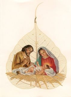 Nativity on Leaf art  Christmas art Green eco Friendly art by museumshop, $6.99  No two leaf looks exactly alike.  COLLECTIBLE leaf art.