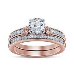 1.34 CT 14k Rose Gold Finish 925 Silver Round Diamond Bridal Engagement Ring Set…