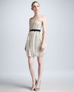 Vera Wang Lavender Tulip Skirt Organza Dress