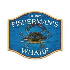 Fishermans Wharf Metal Sign | Vintage Fishing Signs | RetroPlanet.com Bring the rustic seaside charm of a coastal fishing village to your own crab shack with the Fisherman's Wharf tin sign. This custom metal shape echoes the look of a sign you might see on a dock where fishing vessels come and go with their daily catch, complete with the look of aged wood. Looks truly authentic as part of the nautical themed decor in your home or business!