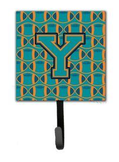 Letter Y Football Aqua, Orange and Marine Blue Leash or Key Holder CJ1063-YSH4