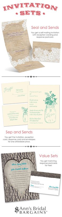 Wedding invitation kits - different styles and themes from Ann's Bridal Bargains