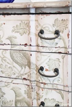 Use stencil/decoupage also in between drawers. Painted furniture - distressed white dresser with birds and foliage details Hand Painted Furniture, Distressed Furniture, Paint Furniture, Repurposed Furniture, Furniture Projects, Furniture Makeover, Dresser Makeovers, Funky Furniture, Antique Furniture