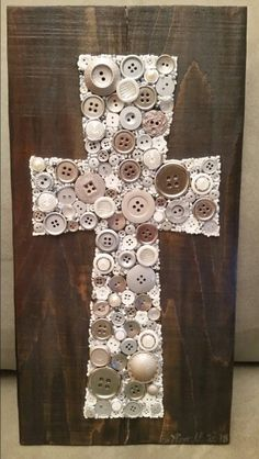 Botton Cross on Recycled Wood with Acrylic Paint Background #forsale #etsy #buttonartbycarol