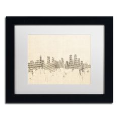 Michael Tompsett 'Denver Skyline Sheet Music' White Matte, Framed Wall Art