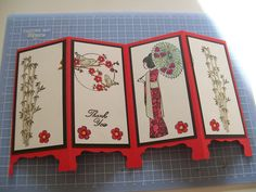 Oriental screen divider card using free stamp set from issue 144 of Cardmaking and Papercraft magazine