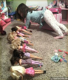 Funny pictures about Barbie Bootcamp. Oh, and cool pics about Barbie Bootcamp. Also, Barbie Bootcamp. Haha Funny, Funny Shit, Funny Drunk, Funny Stuff, Hilarious Jokes, Funny Images, Funny Pictures, Funny Commercials, Charlie Chaplin