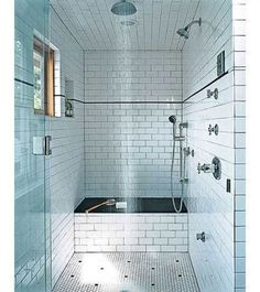 Subway Tiles, Hexagonal Tiles, Dark Grout- don't love the super vintage black dots on the floor in this particular shower - would like them in a laundry or powder room