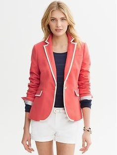 Tipped one-button blazer | Banana Republic - I love the color, the cut, the details, pretty much everything about this classic linen blazer. I wish they had a better picture of it though.