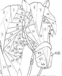 СХЕМА, Трафарет, Шаблон - Голова ЛОШАДИ в технике Айрис-фолдинг (iris folding) - Радужное складывание