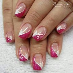 * – Fingernägel – Nagelkunst – Nageldesign, You can collect images you discovered organize them, add your own ideas to your collections and share with other people. Fancy Nails, Pink Nails, Cute Nails, Pretty Nails, Gel Nails, Gorgeous Nails, French Tip Nail Designs, French Nail Art, French Tip Nails