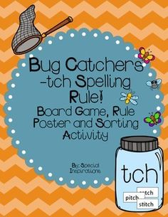 Included: - ch, tch, exceptions rule poster (color)- ch, tch game board (color) and word cards (b/w)- mason jar ch, tch, exceptions sorting mats (color)Fun, engaging activities to teach and review ch/tch spelling rules. Board game can be played many different ways.