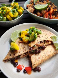 Spicy Mexican Quesadillas with Mango Avocado Salsa