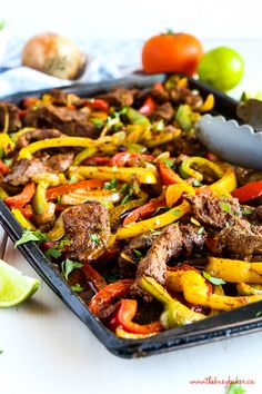 Easy Sheet Pan Steak Fajitas make the perfect simple and healthy weeknight meal for busy families! Made with lean beef, fresh veggies and your favourite Mexican-style fixings! Beef Recipes, Mexican Food Recipes, Healthy Recipes, Family Recipes, Family Meals, Delicious Recipes, Easy Mexican Dishes, Healthy Dishes, Healthy Food