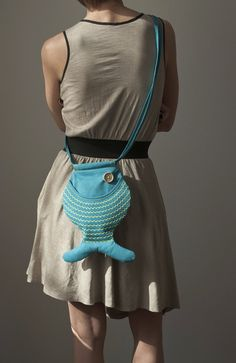 Fish Bag Purse Turquoise Blue Bright Cute Kawaii Hipster by Marewo, $33.00