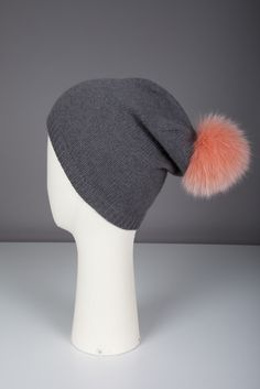 Foamy lutin cap with fur pompom 100% cashmere  Made in France by Evesome >> www.evesome.com