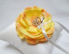 Wedding ring pillow bright yellow bloom on silk dupioni  by mirino, $35.00