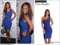 WHAT SHE WORE: Tyra Banks in blue one shoulder BCBGMAXAZRIA dress in New York #fashion #dress #outfit #blue #celebrity #style