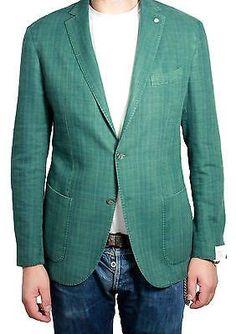 L.B.M 1911 giacca uomo sfoderata quadri verde 60% cotone 40% lino