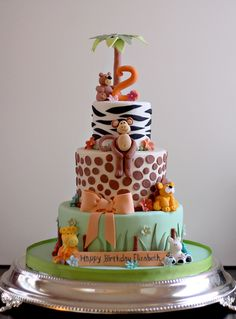 Elizabeth's Zoo Theme 2nd Birthday Cake