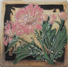 "Carol Long Pottery | 6"" x 6"" | Peony Tile"