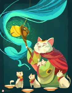 """abbydraws:    for the """"Tumblr Guardians"""" meme! she's the Guardian of Fortune  -she's a mix of maneki-neko (the waving cat) and a crazy cat lady.  -similar to Tooth, I'd imagine her having all the maneki-neko as her little pets coming alive when she calls them using a big bell.  -her cane can move like an actual paw. which she can use to reaching or punching(??)-she can tell which cat is which by the sound of their bells."""