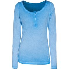 TRUE RELIGION Henley Swedish Blue Cotton modal longsleeve found on Polyvore