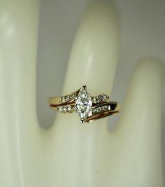 Vintage Ladies 14K Yellow Gold Engagement Ring Wedding Band