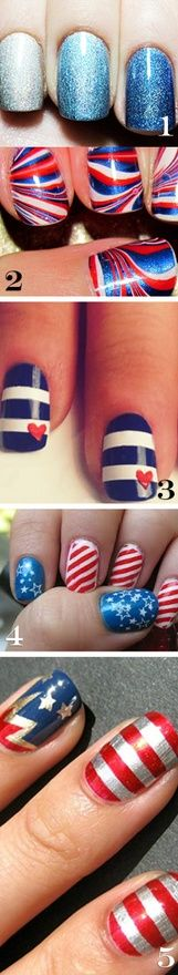 fantastic patriotic, red, blue, white, glitter, nail art, manicure, nails, designs, water marble, and more. great essie colors