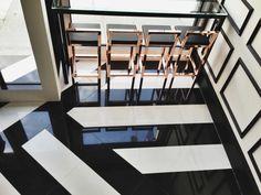 black & white striped floor at Bo Nuage by J. Marx Atelier