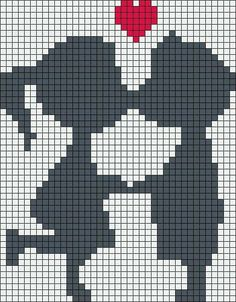 Diy Crafts - Kiss love perler bead pattern, I wouldn't have their faces touching, looks weird, maybe 1 square for noses and shorten other lines Beaded Cross Stitch, Cross Stitch Embroidery, Cross Stitch Patterns, Pixel Crochet, Crochet Chart, Knitting Charts, Loom Knitting, Loom Patterns, Beading Patterns